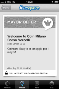 Coin - Foursquare, vantaggi per i mayor